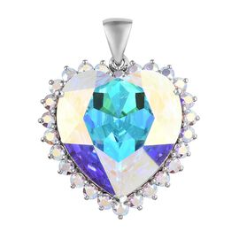 J Francis - Crystal from Swarovski AB Crystal (Hrt 28 mm) Pendant in Platinum Overlay Sterling Silve