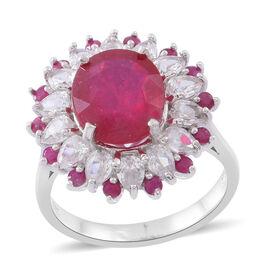 African Ruby (Ovl 6.00 Ct), Burmese Ruby and Natural White Cambodian Zircon Ring in Rhodium Plated S
