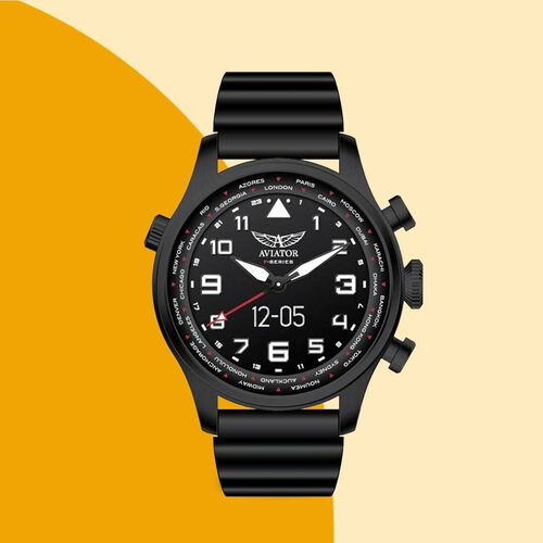 AVIATOR 5 ATM Water Resistant Smart Pilot Watch with Black Silicone Strap