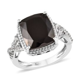 3.75 Ct Elite Shungite and Zircon Ring in Platinum Plated Silver