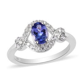 Tanzanite and Natural Cambodian Zircon Ring in Platinum Overlay Sterling Silver 1.17 Ct.