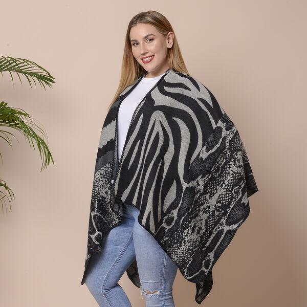 Stripes, Polka Dot and Snake Skin Pattern Ruana with Border (Size 75x135 Cm) - Black and Grey