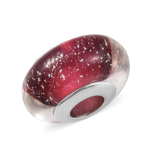 Charmes De Memoire Dark Pink Murano Style Glass Bead Charm in Platinum Overlay Sterling Silver