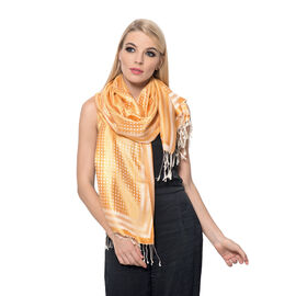 100% Superfine Silk Orange and Off White Colour Floral Pattern Jacquard Jamawar Shawl with Fringes (