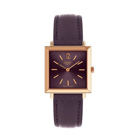 Henry London Heritage Square Ladies Water Resistant Watch with Genuine Leather Strap - Purple