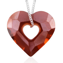 Red Magma Crystal from Swarovski Heart Pendant in Sterling Silver 5.64 Grams