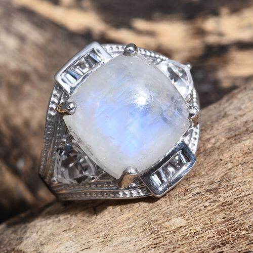 Sri Lankan Rainbow Moonstone (Cush 13.35 Ct), White Topaz Ring in Platinum Overlay Sterling Silver 15.250 Ct. Silver wt. 6.40 Gms.