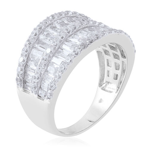 ELANZA Simulated White Diamond (Bgt) Ring in Rhodium Plated Sterling Silver, Silver wt 5.50 Gms.