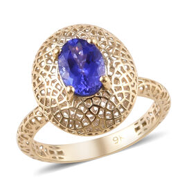 1 Carat Tanzanite Solitaire Ring in 9K Yellow Gold