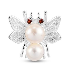 Freshwater Pearl and Mozambique Garnet Butterfly Pendant in Sterling Silver 3.56 Ct.