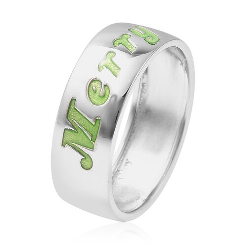 Night Glow Merry Christmas Band Ring in Rhodium Overlay Sterling Silver
