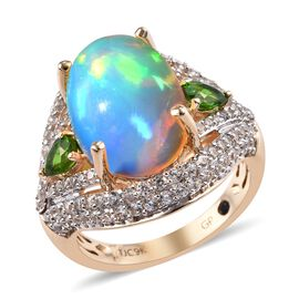 GP 5.50 Ct AA Ethiopian Welo Opal and Multi Gemstone Cluster Ring in 9K Gold 4.88 Grams