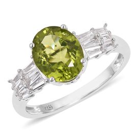 Hebei Peridot (Very Rare Size Ovl 10x8 mm 2.50 Ct) and White Topaz Ring in Sterling Silver 3.600 Ct.