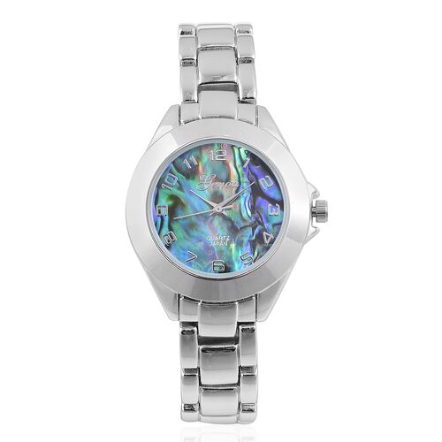 GENOA Japanese Movement Abalone Shell Dial Water Resistant Watch in Silver Tone with Stainless Steel Back