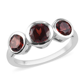 Mozambique Garnet Ring in Platinum Overlay Sterling Silver 2.25 Ct.