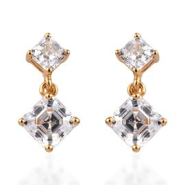 J Francis - 14K Gold Overlay Sterling Silver (Sqr) Earrings Made with SWAROVSKI ZIRCONIA