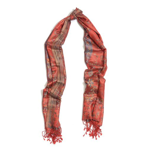 100% Superfine Silk Multi Colour Floral Pattern Red Colour Jacquard Jamawar Scarf with Fringes (Size 180x65 Cm) (Weight 125-140 Grams)