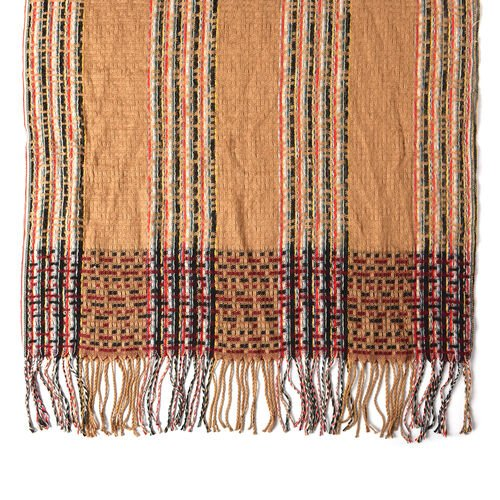 Designer Inspired Check Print Scarf with Tassels (Size 185x69cm) - Camel
