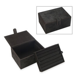 2-Tier Black Hair-on Natural Leather Jewellery Storage Box with Magnetic Flap (Size 18x13x9 Cm)