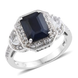 Rare Size Madagascar Blue Sapphire (Oct 4.20 Ct), White Topaz Ring in Platinum Overlay Sterling Silv