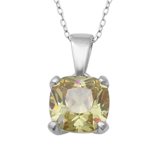 ELANZA Swiss Star Simulated Green Diamond Solitaire Pendant With Chain in Rhodium Plated Silver