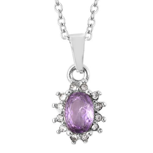 3 Piece Set - Amethyst and White Austrian Crystal Ring, Earrings (with Push Back) & Pendant with Chain (Size 20) in Stainless Steel 4.50 Ct.
