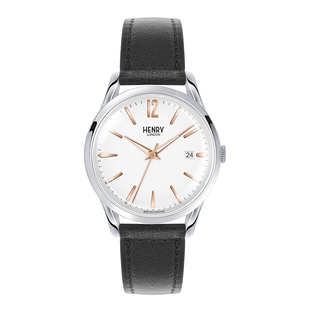 Personalised Engravable Henry London Highgate Unisex White Dial Watch with Black Lamb Leather Strap