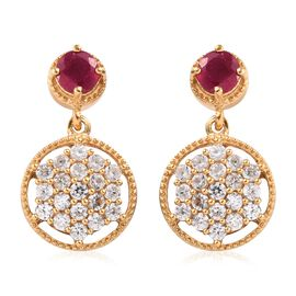 African Ruby (1.15 Ct),Cambodian Zircon 14K Gold Overlay Sterling Silver Earring  3.500  Ct.