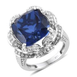 Ceylon Colour Quartz (Cush 9.75 Ct), Natural Cambodian Zircon Ring in Platinum Overlay Sterling Silver 10.000 Ct, Silver wt 8.08 Gms.