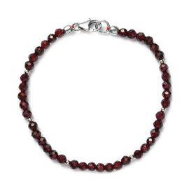 Rhodolite Garnet  Beaded Bracelet (Size 7.5) in Sterling Silver 24.50 Ct.