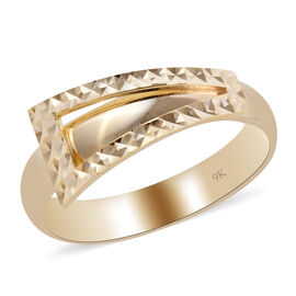 Close Out Deal- 9K Yellow Gold Diamond Cut Textured Ring