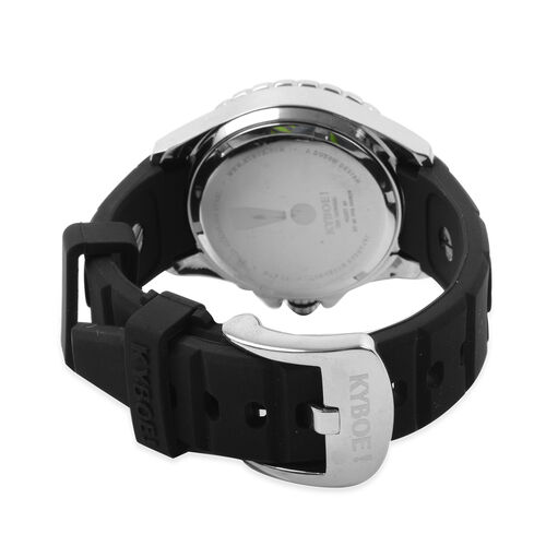 KYBOE Power Collection- Japanese Movement 100M Water Resistant Silver Shout LED Watch in Stainless Steel with Rotating Bezel and Black Strap - 40MM