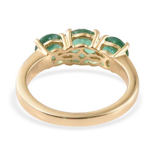 ILIANA 18K Yellow Gold AAA Kagem Zambian Emerald (Rnd) Three Stone Ring 1.750 Ct.