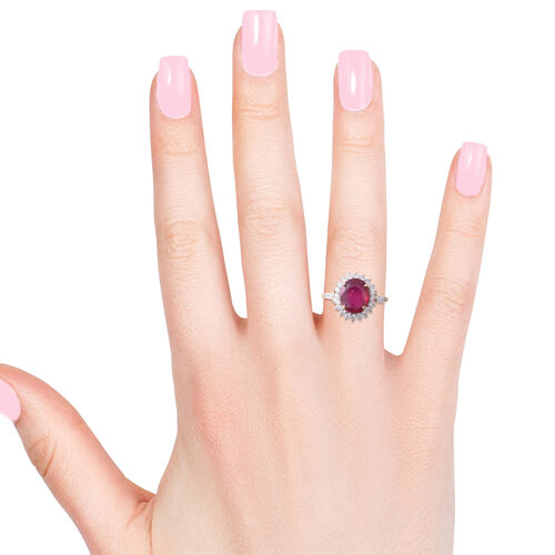 African Ruby (Ovl 7.10 Ct), Natural White Cambodian Zircon Halo Ring in Yellow Gold Overlay Sterling Silver 8.500 Ct.