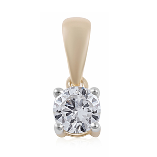 0.50 Ct Diamond Solitaire Pendant in 9K Gold SGL Certified I3 GH