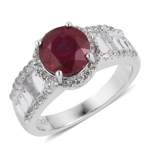 African Ruby (Rnd 3.00 Ct), White Topaz and Natural White Cambodian Zircon Ring in Rhodium Plated Sterling Silver 4.400 Ct.