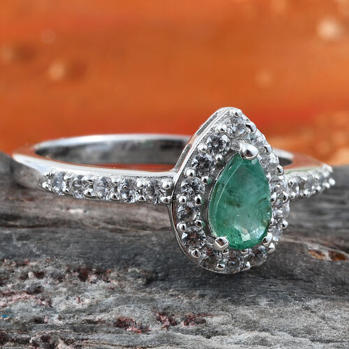 Kagem Zambian Emerald (Pear 6x4 mm), Natural Cambodian Zircon Ring in Platinum Overlay Sterling Silver 0.855 Ct.