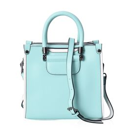 100% Genuine Leather Turquoise and White Colour Tote Bag (Size 24x11.5x22 Cm) with Detachable Should