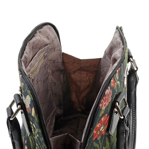 SIGNARE-Tapestry Collection - Morning Garden Black Top-Handle Shoulder Bag with Removable Strap ( 36 x 23 x 12.5 Cms)