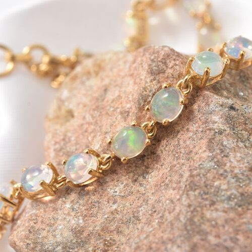 Ethiopian Welo Opal (Ovl) Bracelet (Size 7.25 with 1 Inch Extender) with Heart Charm in 14K Gold Overlay Sterling Silver 5.750 Ct.