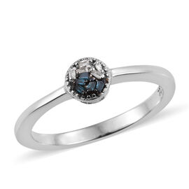 Blue and White Diamond (Bgt) Ring in Platinum Overlay Sterling Silver 0.030 Ct.
