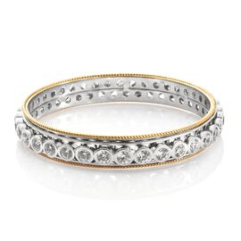 J Francis SWAROVSKI ZIRCONIA Bangle in Platinum and Gold Plated Sterling Silver 8 Inch 37.52 Grams