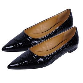 Inyati - VIOLET Croc Slip-On Flat Ballerinas Black
