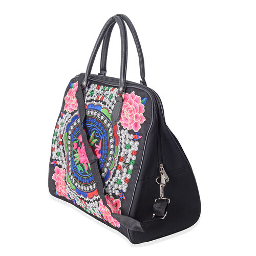 ShangHai Collection Multi Colour Flower Embroidered Large Weekend Bag with Adjustable and Removable Shoulder Strap (Size 42x35x20 Cm)