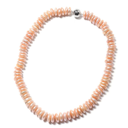 Peach Freshwater Coin Pearl Necklace (Size 20) in Rhodium Overlay Sterling Silver with Magnetic Lock