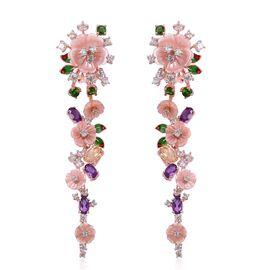 JARDIN COLLECTION - Pink Mother of Pearl (12mm) and Multi Gemstones Earrings (with French Clip) in Rose Gold and Rhodium with Enameled Overlay Sterling Silver 13.980 Ct, Silver wt. 9.00 Gms.