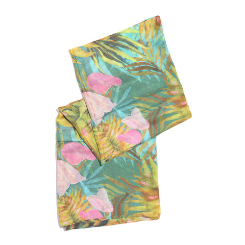100% Mulberry Silk Green, Yellow and Multi Colour Printed Scarf (Size 180x100 Cm)