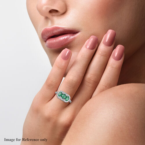 Premium Kagem Zambian Emerald and Natural Cambodian Zircon Ring in Platinum Overlay Sterling Silver 1.50 Ct.