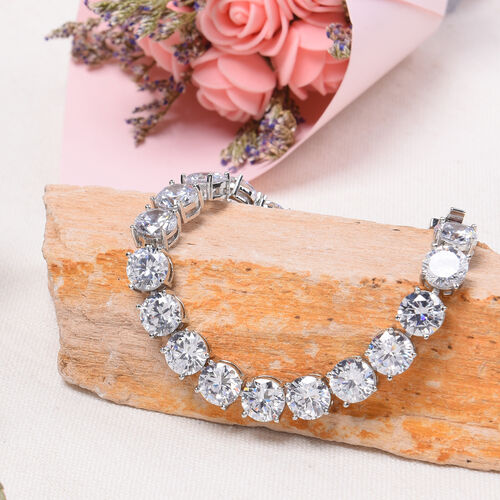 Simulated Diamond Tennis Bracelet (Size 8 with Extender) in Silver Tone