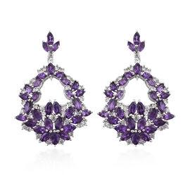 GP 8.75 Ct Amethyst and Multi Gemstone Floral Drop Earrings in Platinum Plated Silver 9.76 Grams